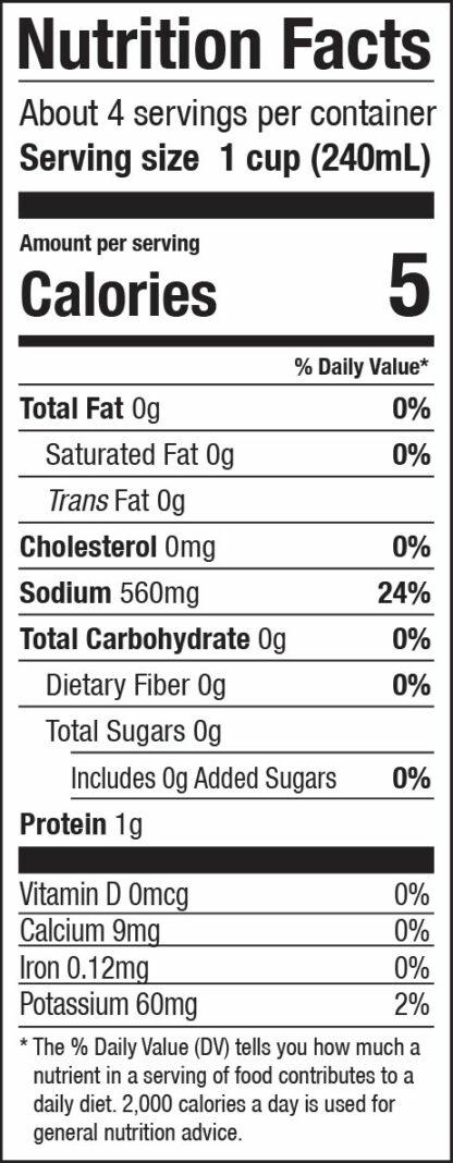 zoup chicken broth nutrition label