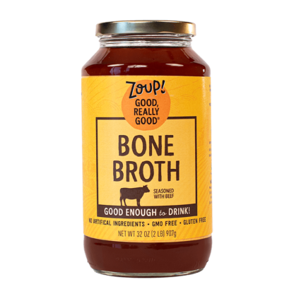 zoup beef bone broth jar with no artificial ingredients, gmo free and gluten free label