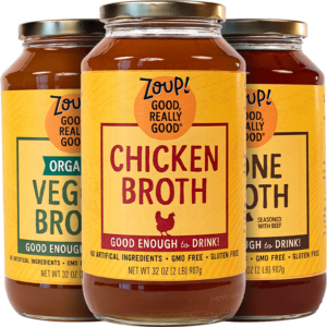 Zoup! gmo free, gluten free chicken broth, organic veggie broth and bone broth with no artificial ingredients