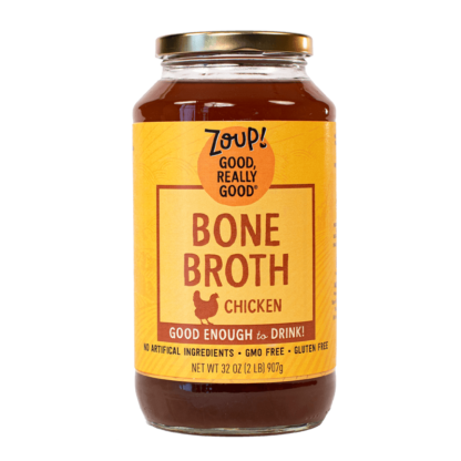 zoup chicken bone broth jar with no artificial ingredients, gmo free and gluten free label