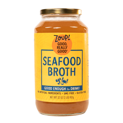 zoup seafood broth jar with no artificial ingredients, gmo free and gluten free label