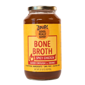 zoup spicy chicken bone broth jar with no artificial ingredients, gmo free and gluten free label